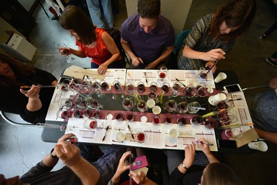 View of wine blending table